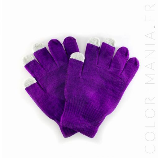 Gants Tactiles Violet Foncé | Color-Mania