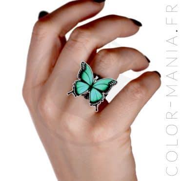 Bague Papillon Vert et Noir | Color-Mania