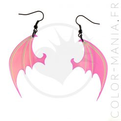 Boucles d'Oreilles Ailes de Dragon Transparent Irisé | Color-Mania