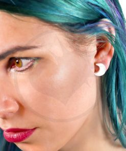 White Moon Crescent Pendientes | Color-Mania