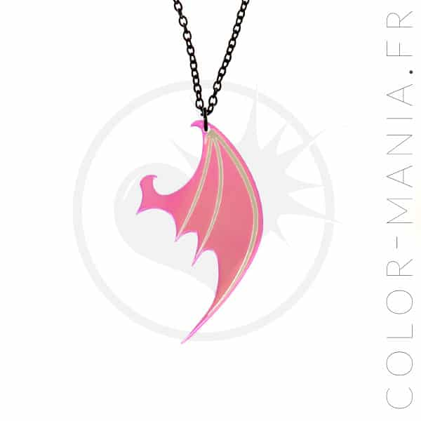Collier Aile de Dragon Transparent Irisé | Color-Mania