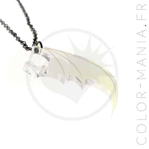 Collier Aile de Dragon Transparent Irisé | Color-Mania