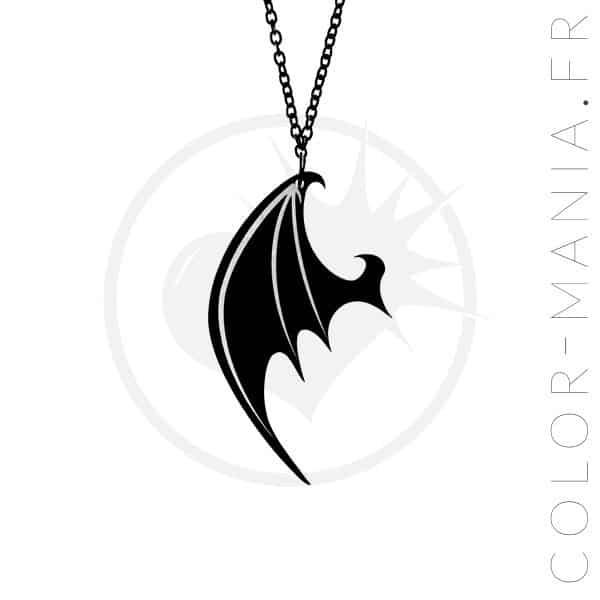 Collier Aile de Dragon Noir | Color-Mania