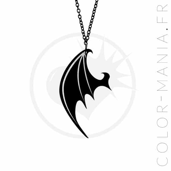 Collier Aile de Dragon Noir | Color-Mania