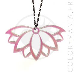 Collier Fleur de Lotus Transparent Irisé | Color-Mania
