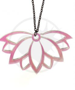Colar transparente iridescente da flor de Lotus de <br> Não Perca! Cor-Mania