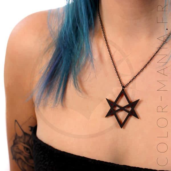 Collar de hexagrama negro | Color-Mania