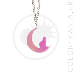 Collier Chat Croissant de Lune Transparent Irisé | Color-Mania