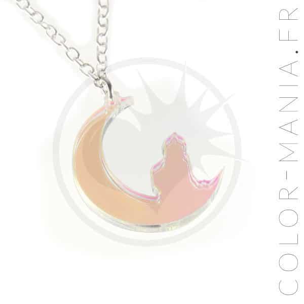 Collier Chat Croissant de Lune Transparent Irisé | Color-Mania