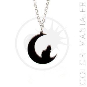 Colar crescente preta do gato da lua de <br> Não Perca! Cor-Mania