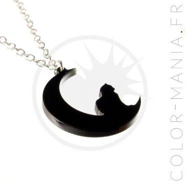 Collier Chat Croissant de Lune Noir | Color-Mania