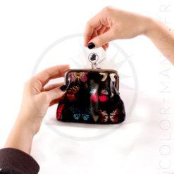 Porte-Monnaie Rétro Noir Imprimé Papillons | Color-Mania