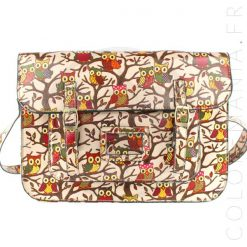 Sac Cartable Satchel Rose Imprimé Hiboux | Color-Mania