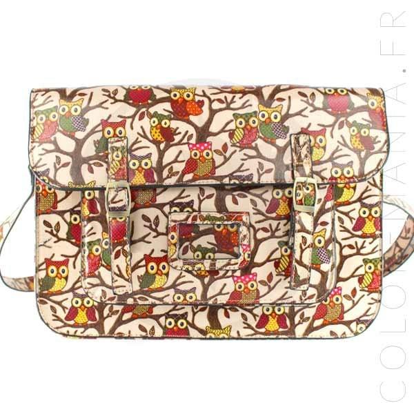 Bolso de satchel estampado lechuza rosada | Color-Mania