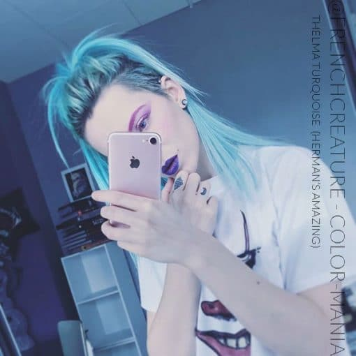 Merci @frenchcreature_ :) Coloration Cheveux Bleu Thelma Turquoise - Herman's Amazing   Color-Mania