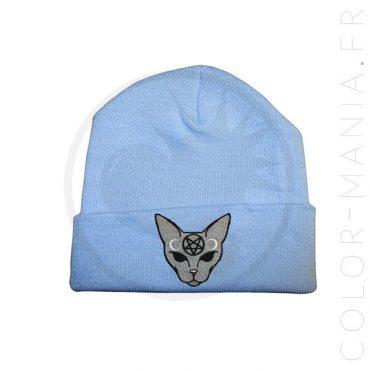 Bonnet Bleu Ciel Chat Mystique Gris   Color-Mania