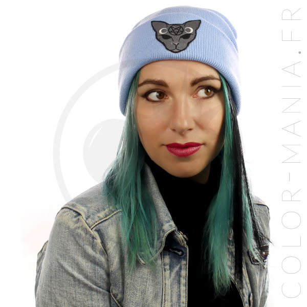 Bonnet Bleu Ciel Chat Mystique Gris | Color-Mania