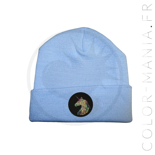 Holographic Unicorn Sky Blue Beanie | Color-Mania