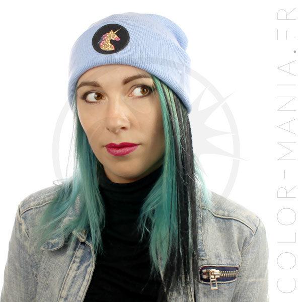 Bonnet Bleu Ciel Licorne Holographique | Color-Mania