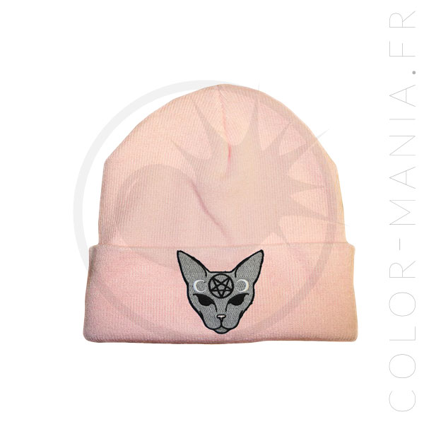 Pastel Pink Mystic Cat Grey Beanie | Color-Mania