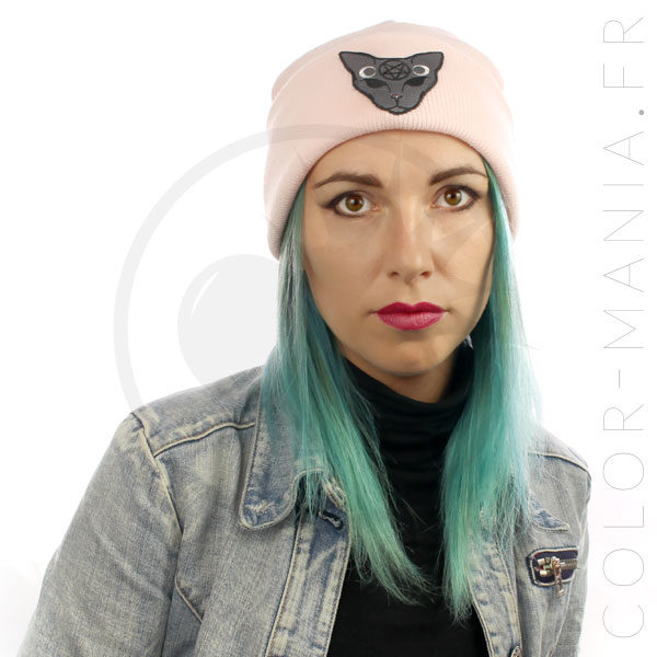 Bonnet Rose Pastel Chat Mystique Gris | Color-Mania