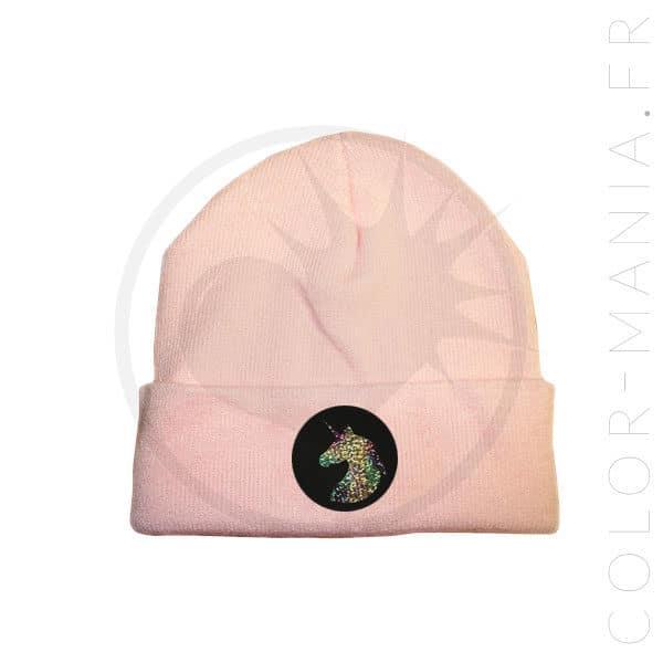 Bonnet Rose Pastel Licorne Holographique   Color-Mania
