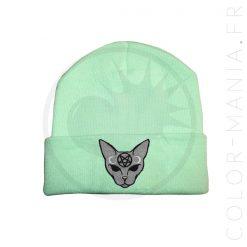 Bonnet Vert Menthe Chat Mystique Gris | Color-Mania