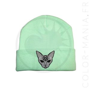 Beanie Green Mint Cat Mystic Grey | Color-Mania