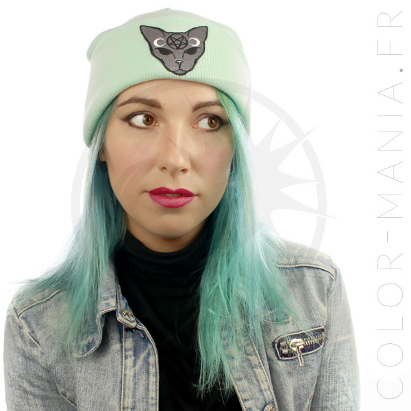 Beanie Green Mint Cat Mystic Grey | Color-Mania