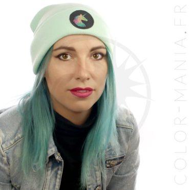 Bonnet Vert Menthe Licorne Holographique   Color-Mania