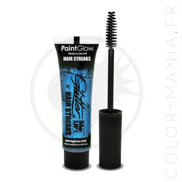 Mascara Cheveux Paillettes Bleu | Color-Mania