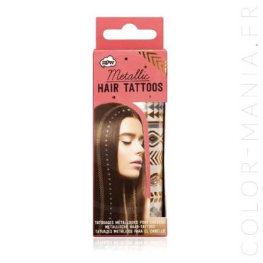 Tattoos Temporaires Métallisés pour Cheveux   Color-Mania