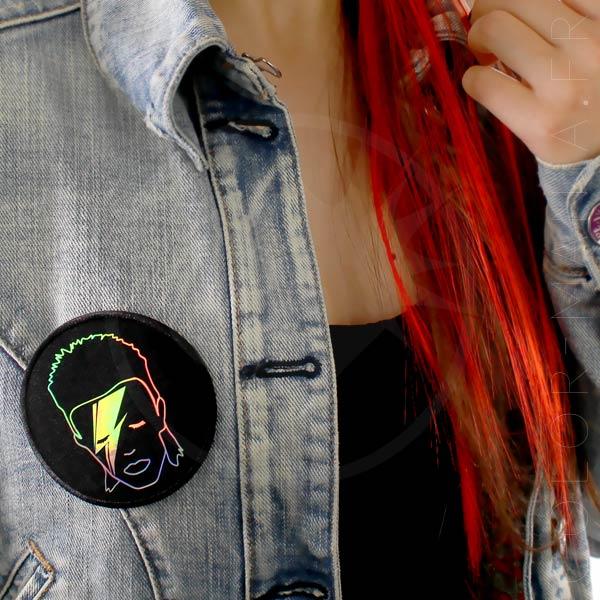 Patch David Bowie Holographique Noir | Color-Mania
