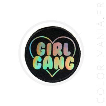Patch Girl Gang Holographique Noir   Color-Mania
