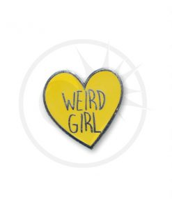 Pin's Weird Girl Coeur Jaune | Color-Mania