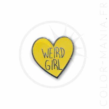 Pin's Weird Girl Coeur Jaune | Color-Mania