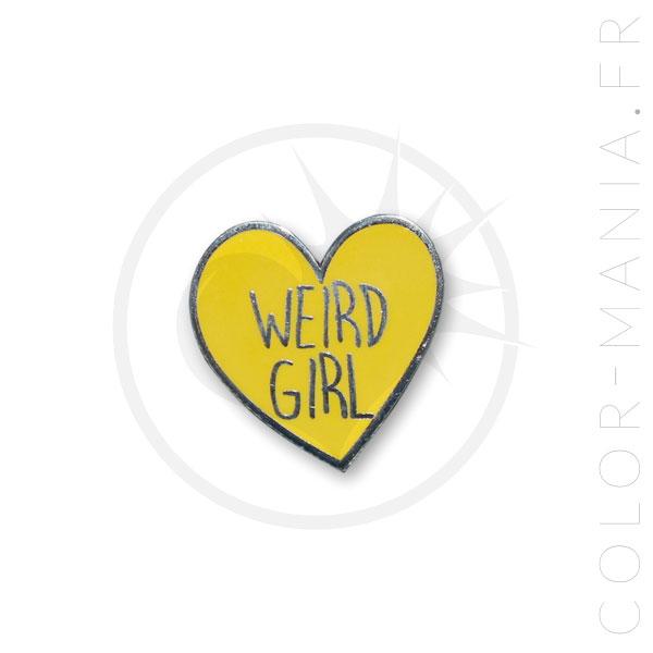 Pin Weird Girl Heart Yellow | Color-Mania