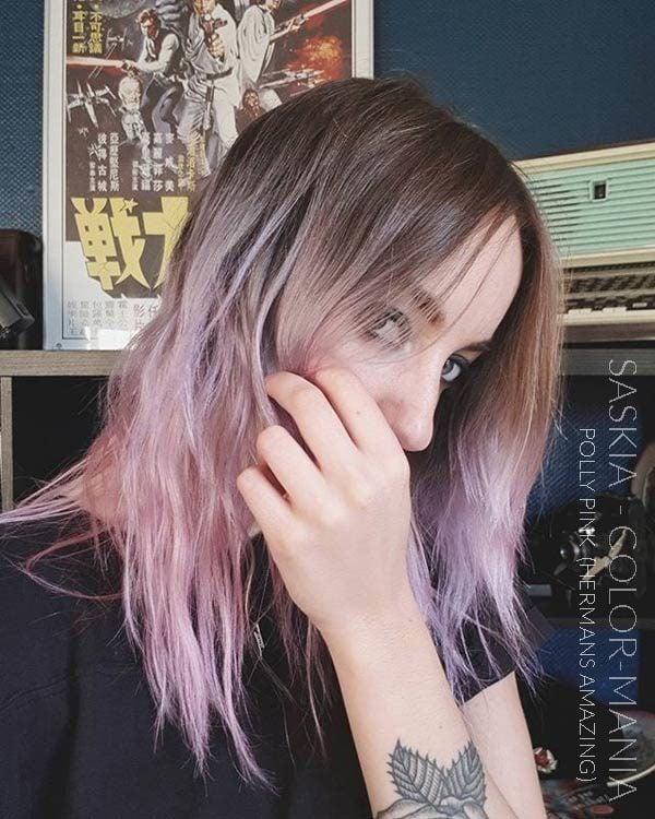 Grazie Saskia :) Colorazione rosa pastello dei capelli di Polly Pink - Herman's Amazing | Color-Mania