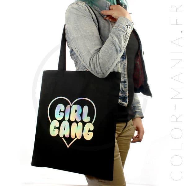 Sac Tote Bag Girl Gang Holographique   Color-Mania