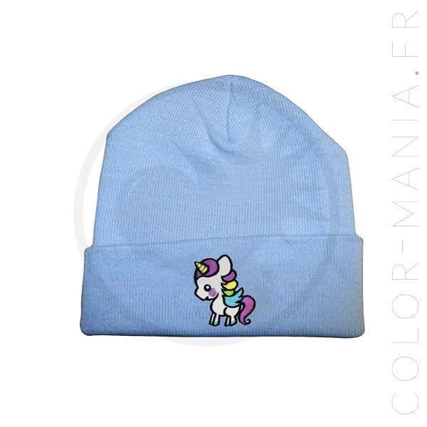 Bonnet Bleu Ciel Licorne Blanche   Color-Mania
