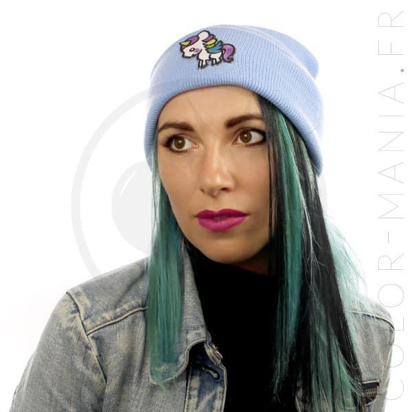 Bonnet Bleu Ciel Licorne Blanche | Color-Mania