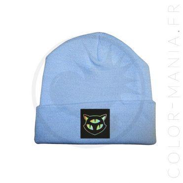 Bonnet Bleu Ciel Chat 3 Yeux Holographique | Color-Mania