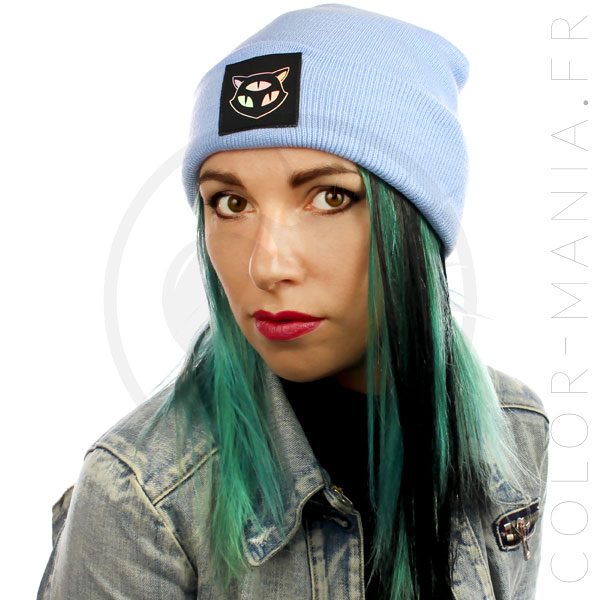 Beanie Blue Sky Cat 3 Ojos Holográfico | Color-Mania