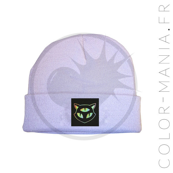 Bonnet Lilas Chat 3 Yeux Holographique | Color-Mania