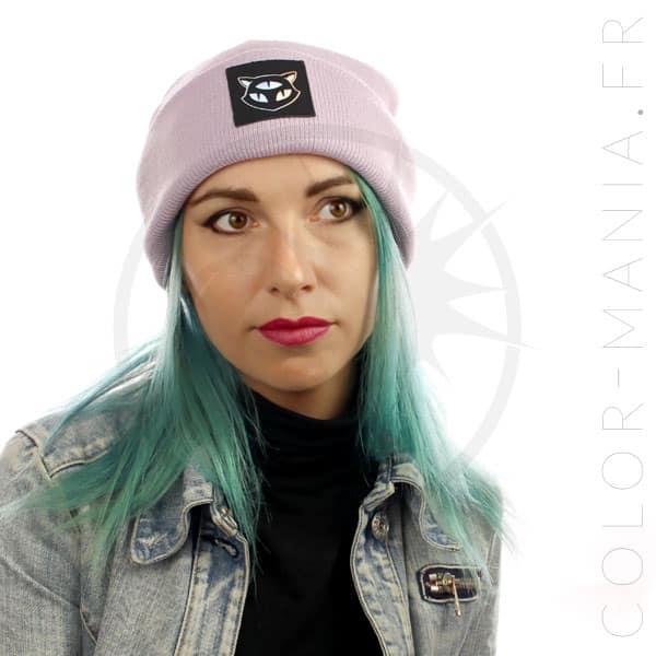 Bonnet Lilas Chat 3 Yeux Holographique | Color-Mania