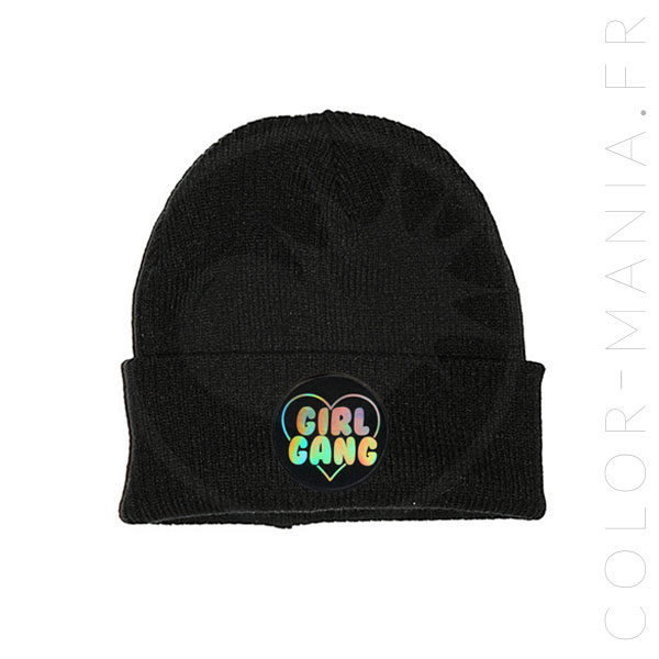 Bonnet Noir Girl Gang Holographique | Color-Mania
