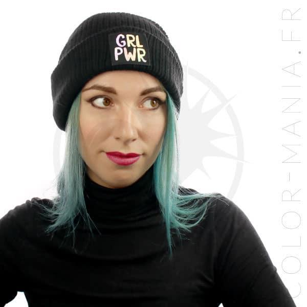 Bonnet Noir Grl Pwr Holographique   Color-Mania