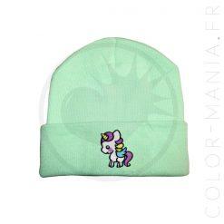 Bonnet Vert Menthe Licorne Blanche | Color-Mania