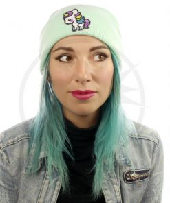 White Mint Unicorn Green Beanie | Color-Mania