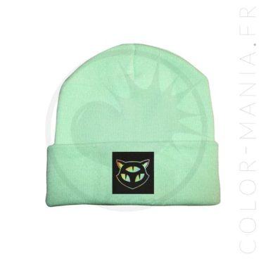 Bonnet Vert Menthe Chat 3 Yeux Holographique | Color-Mania